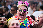 © Joel Goodman - 07973 332324 . 26/08/2016 . Manchester , UK . Revellers in front of the Main Stage in Manchester's Gay Village for 2016 Manchester Gay Pride Big Weekend . Photo credit : Joel Goodman