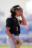 Pittsburgh Pirates Cole Tucker (3) during a Major League Spring Training game against the Toronto Blue Jays on March 1, 2021 at TD Ballpark in Dunedin, Florida.  (Mike Janes/Four Seam Images)