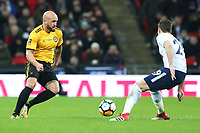 David Pipe of Newport County is marked by Harry Winks of Tottenham Hotspur during the Fly Emirates FA Cup Fourth Round Replay match between Tottenham Hotspur and Newport County at Wembley Stadium, London, England, UK. 07 February 2018
