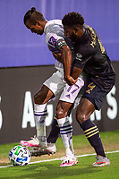 LAKE BUENA VISTA, FL - JULY 20: Nani #17 of Orlando City SC dribbles the ball during a game between Orlando City SC and Philadelphia Union at Wide World of Sports on July 20, 2020 in Lake Buena Vista, Florida.