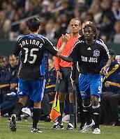 Gavin Clinton subs in for Shea Salinas,.San Jose Earthquakes vs Los Angeles Galaxy, April 4, 2008, in Carson California. The Galaxy won 2-0.