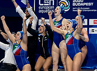 Italy celebrating goal<br /> <br /> Budapest 21/01/2020 Duna Arena <br /> Russia (white caps) Vs. Italy (blue caps) Quarter Final women<br /> XXXIV LEN European Water Polo Championships 2020<br /> Photo  Giorgio Scala / Deepbluemedia / Insidefoto