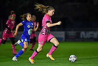 Estelle Dessilly (13 Charleroi) pictured during a female soccer game between  AA Gent Ladies and Sporting Charleroi Feminin on the fifth matchday of the 2020 - 2021 season of Belgian Scooore Womens Super League , friday 16 th of October 2020  in Oostakker , Belgium . PHOTO SPORTPIX.BE | SPP | DAVID CATRY