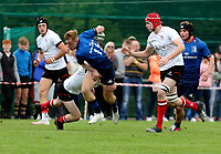 Saturday 5th September 2021<br /> <br /> David Donohue is tackled by Ethan Graham  during U18 Clubs inter-pro between Ulster Rugby and Leinster at Newforge Country Club, Belfast, Northern Ireland. Photo by John Dickson/Dicksondigital