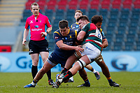 /6th February 2021; Mattoli Woods Welford Road Stadium, Leicester, Midlands, England; Premiership Rugby, Leicester Tigers versus Worcester Warriors; Nick Schonert of Worcester Warriors tackles Jasper Wiese of Leicester Tigers