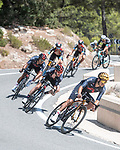 Olympic Champion Richard Carapaz (ECU) and Adam Yates (GBR) Ineos Grenadiers descend during Stage 7 of La Vuelta d'Espana 2021, running 152km from Gandia to Balcon de Alicante, Spain. 20th August 2021.     <br /> Picture: Unipublic/Charly Lopez | Cyclefile<br /> <br /> All photos usage must carry mandatory copyright credit (© Cyclefile | Charly Lopez/Unipublic)