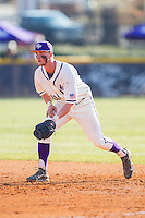 High Point Panthers first baseman Spencer Angelis (11) on defense against the Bowling Green Falcons at Willard Stadium on March 9, 2014 in High Point, North Carolina.  The Falcons defeated the Panthers 7-4.  (Brian Westerholt/Four Seam Images)