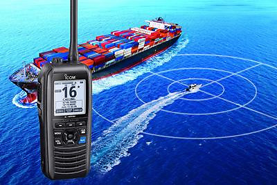 The  Icom IC-M94DE is the world's first marine VHF handportable radio with an integrated AIS receiver as well as DSC and GPS
