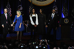 Vice-President Joe Biden, his wife Jill, Malia Obama, First Lady Michelle Obama and President Barack Obama after he gave his farewell address to a crowd of thousands and the nation during his farewell address at McCormick Place in Chicago, Illinois on January 10, 2017.