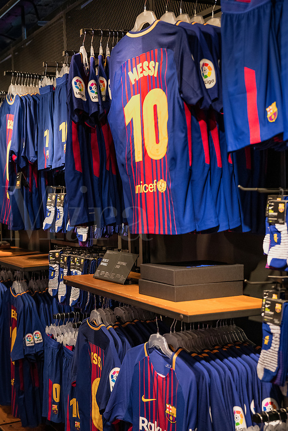 Popular Messi jerseys dominate the Camp Nou store, Barcelona, Spain.