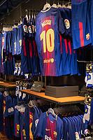 Popular Messi jerseys dominate the Camp Nou store, Barcelona, Spain.