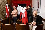 """Casa di reclusione di Volterra 14 gennaio 2009 - Compagnia della fortezza - nel teatrino """"Renzo Graziani"""" si prepara Pinocchio,<br />  in primo piano Armando Punzo, regista<br /> a torso nudo Aniello Arena, attore"""