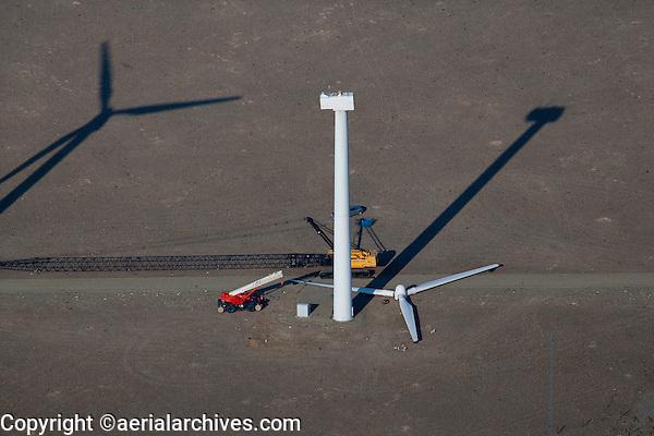 aerial photograph wind turbine maintenance wind farm southeastern Wyoming