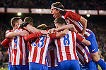 Atletico de Madrid's Nico Gaitán, Saúl Ñígez, Koke Resurrección, Fernando Torres, Antoine Griezmann and Filipe Luis celebrating a goal during La Liga match between Atletico de Madrid and Real Betis at Vicente Calderon Stadium in Madrid, Spain. January 14, 2017. (ALTERPHOTOS/BorjaB.Hojas)