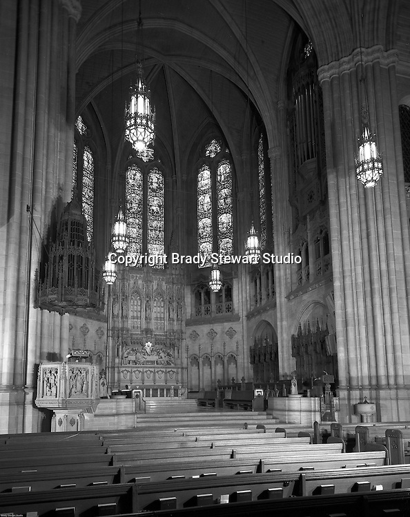 East Liberty Presbyterian Church:  View of the Chancel which includes the alter.  Brady Stewart Jr and Carmen Sabatasso photographed the interior and exterior of the church in 1976. A black and white photograph of the Sanctuary Chancel.