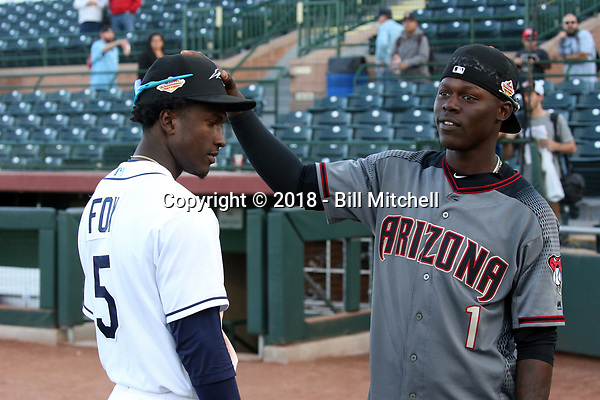 Lucius Fox of the Peoria Javelinas and Jazz Chisholm of the Salt River Rafters, both natives of the Bahamas, played in the 2018 Arizona Fall League championship game won by the Peoria Javelinas, 3-2 in 10 innings, over the Salt River Rafters at Scottsdale Stadium on November 17, 2018 in Scottsdale, Arizona (Bill Mitchell)