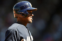 Milwaukee Brewers shortstop Elian Herrera (3) on third during a game against the Chicago Cubs on August 14, 2014 at Wrigley Field in Chicago, Illinois.  Milwaukee defeated Chicago 6-2.  (Mike Janes/Four Seam Images)