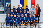 Class teacher Neasa Ní Lionard with Hilda Maher and Catherine Sheahan SNA with their junior infants on their first day of school in St Olivers NS Killlarney on Monday