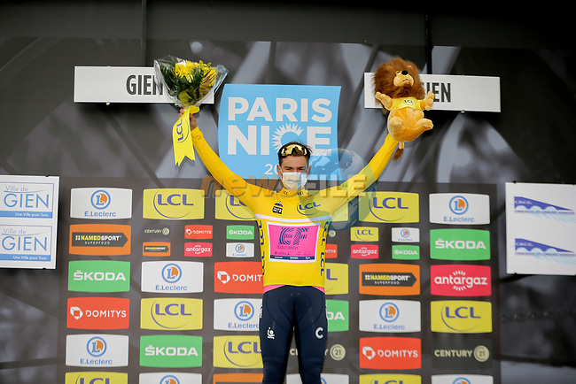 Stefan Bissegger (SUI) EF Education-Nippo wins Stage 3 and takes over the race leaders Yellow Jersey of Paris-Nice 2021, an individual time trial running 14.4km around Gien, France. 9th March 2021.<br /> Picture: ASO/Fabien Boukla | Cyclefile<br /> <br /> All photos usage must carry mandatory copyright credit (© Cyclefile | ASO/Fabien Boukla)