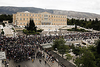 Pictured: A crowd of protestersoutside the Parliament in Athens, Greece. Wednesday 17 May 2017<br /> Re: Clashes between anti fourth memorandum protesters and riot police during 24 hour strike in Athens, Greece