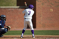 Tim Mansfield (3) of the High Point Panthers at bat against the NJIT Highlanders at Williard Stadium on February 19, 2017 in High Point, North Carolina. The Panthers defeated the Highlanders 6-5. (Brian Westerholt/Four Seam Images)