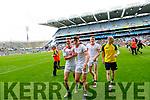 Jonathan Lyne, Jason Foley, and Sean O'Shea, Kerry celebrate after the All Ireland Senior Football Semi Final between Kerry and Tyrone at Croke Park, Dublin on Sunday.
