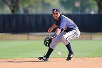 Second baseman Jose Peraza (57) of the Atlanta Braves farm system in a Minor League Spring Training intrasquad game on Wednesday, March 18, 2015, at the ESPN Wide World of Sports Complex in Lake Buena Vista, Florida. (Tom Priddy/Four Seam Images)