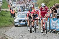 Alexander Kristoff (NOR/Katusha-Alpecin) & John Degenkolb (DEU/Trek-Segafredo) up the Paterberg<br /> <br /> 101th Ronde Van Vlaanderen 2017 (1.UWT)<br /> 1day race: Antwerp › Oudenaarde - BEL (260km)