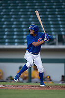 AZL Cubs 1 center fielder Jose Gutierrez (20) at bat during an Arizona League game against the AZL Cubs 1 at Sloan Park on June 28, 2018 in Mesa, Arizona. The AZL Athletics defeated the AZL Cubs 1 5-4. (Zachary Lucy/Four Seam Images)