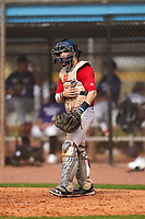Catcher Luca Marino (8) during the Perfect Game National Underclass East Showcase on January 23, 2021 at Baseball City in St. Petersburg, Florida.  (Mike Janes/Four Seam Images)