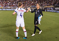PASADENA, CA - AUGUST 4: Becky Sauerbrunn #4 and Ashlyn Harris #18 celebrate during a game between Ireland and USWNT at Rose Bowl on August 3, 2019 in Pasadena, California.