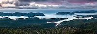 Sunset over Whanganui Inlet on west coast, Nelson Region, South Island, New Zealand, NZ