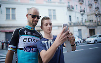 young fan snatches a selfie with Tom Boonen (BEL/Etixx-QuickStep) in the streets of San Remo<br /> <br /> Giro 2015 Official Team Presentation (in San Remo)