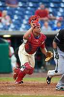 Clearwater Threshers catcher Willians Astudillo (4) during the first game of a doubleheader against the Jupiter Hammerheads on July 25, 2015 at Bright House Field in Clearwater, Florida.  Jupiter defeated Clearwater 8-5.  (Mike Janes/Four Seam Images)