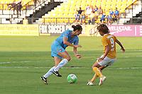 yael Averbuch (13) of Sky Blue FC and Mami Yamaguchi (9) of the Atlanta Beat. Sky Blue FC defeated the Atlanta Beat 2-1 during a Women's Professional Soccer (WPS) match at KSU Atlanta Beat Stadium Kennesaw, GA, on August 7, 2010...