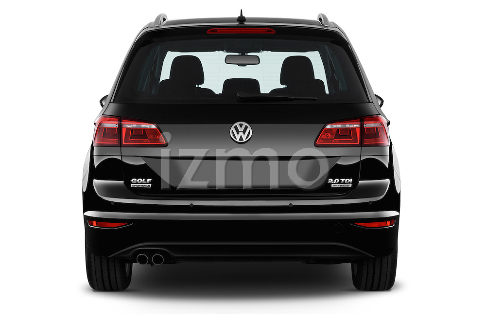 Straight rear view of a 2014 Volkswagen GOLF SPORTSVAN Highline 5 Door Mini MPV 2WD Rear View  stock images