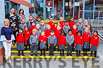 The junior infants in Holy Cross Mercy NS withclass teacher Triona Sheehym teacher Barbara Dineen and Rhea Prendergast SNA on their first day of school on Monday