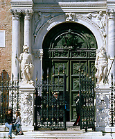 The Porta Magna of the Venetian Arsenal. The Arsenale's land gate is considered by many to be the earliest example of Renaissance architecture in Venice; it was probably executed in 1460.