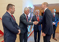 Photo Must Be Credited ©Alpha Press 073074 22/02/2020<br /> Prince William Duke of Cambridge greets Welsh Rugby Union (WRU) Chairman Gareth Davies (second left) and Chief Executive Martyn Phillips (left) at the Six Nations match between Wales and France at the Principality Stadium in Cardiff, Wales.<br /> <br /> *** No UK Rights Until 28 Days from Picture Shot Date ***/AdMedia