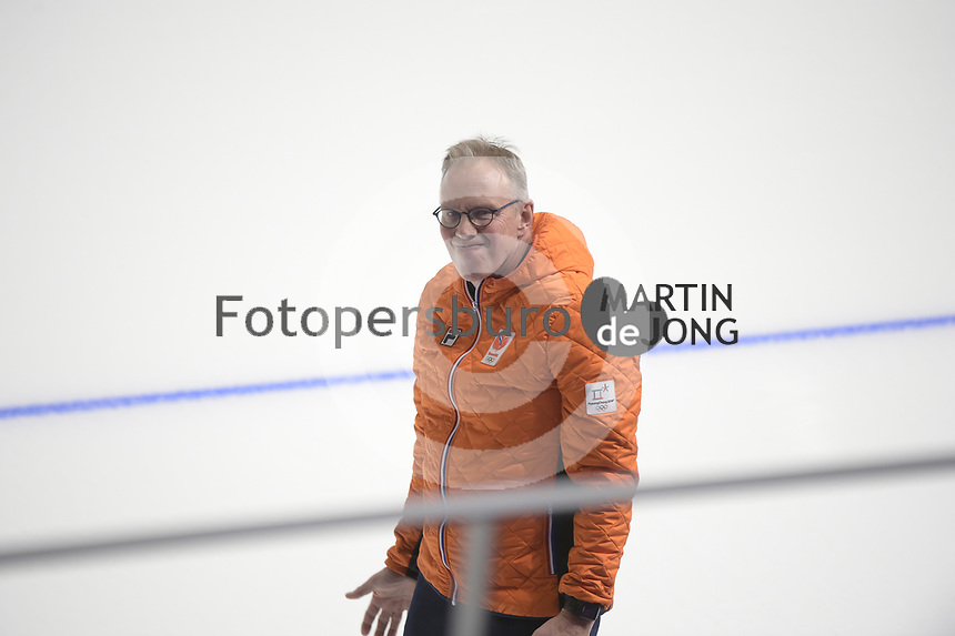 OLYMPIC GAMES: PYEONGCHANG: 21-02-2018, Gangneung Oval, Long Track, Team Pursuit, Team Netherlands, Geert Kuiper (coach), ©photo Martin de Jong