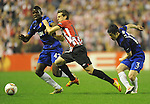 Paul Pogba, Manchester United's(L) Oscar de Marcos, Athletic de Bilbao during a UEFA Europa League round of 16, second leg soccer match at the San Mames Stadium, in Bilbao, Thursday, March 15, 2012. (ALTERPHOTOS/Israel Lopez Murillo)