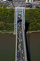 aerial photograph of traffic crossing the George Washington bridge after passing through the toll plazas, Fort Lee, New Jersey