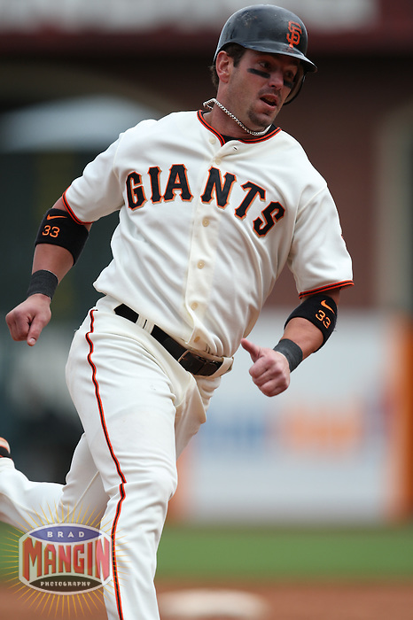 SAN FRANCISCO - JULY 20:  Aaron Rowand of the San Francisco Giants runs the bases during the game against the Milwaukee Brewers at AT&T Park in San Francisco, California on July 20, 2008.  The Brewers defeated the Giants 7-4.  Photo by Brad Mangin