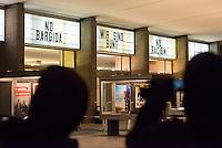 Etwa 1.500 Menschen protestierten am Montag den 19. Januar 2015 in Berlin gegen den Ausmarsch von Pegida-Anhaengern. Die Polizei hatte den Rechten eine Demonstrationsroute von ca. 1 Km abgesperrt, die durch Proteste jedeoch um die Haelfte verkuerzt werden musste.<br /> Im Bild: Die Betreiber des Kino International haben ihre Werbetafeln mit Parolen gegen die Rechten beschriftet.<br /> 19.1.2015, Berlin<br /> Copyright: Christian-Ditsch.de<br /> [Inhaltsveraendernde Manipulation des Fotos nur nach ausdruecklicher Genehmigung des Fotografen. Vereinbarungen ueber Abtretung von Persoenlichkeitsrechten/Model Release der abgebildeten Person/Personen liegen nicht vor. NO MODEL RELEASE! Nur fuer Redaktionelle Zwecke. Don't publish without copyright Christian-Ditsch.de, Veroeffentlichung nur mit Fotografennennung, sowie gegen Honorar, MwSt. und Beleg. Konto: I N G - D i B a, IBAN DE58500105175400192269, BIC INGDDEFFXXX, Kontakt: post@christian-ditsch.de<br /> Bei der Bearbeitung der Dateiinformationen darf die Urheberkennzeichnung in den EXIF- und  IPTC-Daten nicht entfernt werden, diese sind in digitalen Medien nach §95c UrhG rechtlich geschuetzt. Der Urhebervermerk wird gemaess §13 UrhG verlangt.]