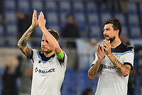 Uefa Europa League Group E Lazio vs Olympique de Marseille Olympic stadium Rome<br /> Lazio's captain Ciro Immobile (L) and Francesco Acerbi (R) greet their supporters at the end of  the UEFA Europa League Group E Football match between Lazio and Olympique de Marseille at the Olympic stadium in Rome on October 21, 2021. <br /> UPDATE IMAGES PRESS/Isabella Bonotto