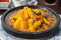 Essaouira, Morocco.  Chicken Tajine, a Typical Moroccan Dish.