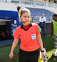 20190306 - LARNACA , CYPRUS : Cypriotic referee Georgiou Chryso pictured during a women's soccer game between Slovakia and Hungary , on Wednesday 6 th March 2019 at the Antonis Papadopoulos stadium in Larnaca , Cyprus . This last game for both teams which decides for places 11 and 12 of the Cyprus Womens Cup 2019 , a prestigious women soccer tournament as a preparation on the Uefa Women's Euro 2021 qualification duels. PHOTO SPORTPIX.BE | DAVID CATRY