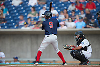 Antoni Flores (9) of the Salem Red Sox at bat against the Kannapolis Cannon Ballers at Atrium Health Ballpark on July 30, 2021 in Kannapolis, North Carolina. (Brian Westerholt/Four Seam Images)