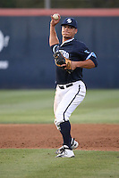 Bryson Brigman (8) of the University of San Diego Toreros makes a throw during a game against the Cal State Fullerton Titans at Goodwin Field on April 5, 2016 in Fullerton, California. Cal State Fullerton defeated University of San Diego, 4-2. (Larry Goren/Four Seam Images)