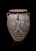 Minoan Kamares Ware pithos storage container with polychrome decorations , Phaistos 1800-1700 BC; Heraklion Archaeological  Museum, black background.<br /> <br /> This style of pottery is named afetr Kamares cave where this style of pottery was first found